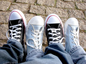 Play with two pairs of shoes, alternating the positions of each one.